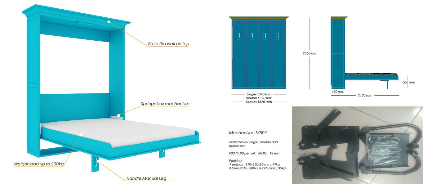 Phụ kiện thông minh cho giường gấp chiều rộng nhỏ hơn chiều cao